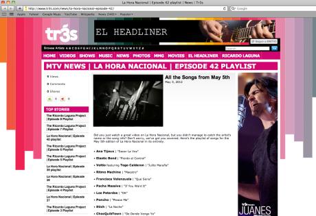 STICH en MTV TR3S La Hora Nacional